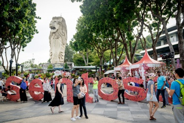 Sentosa s nápisem a singapourským lvem